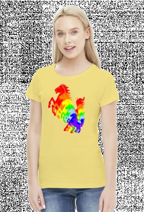 Konie tęcza koszulka damska