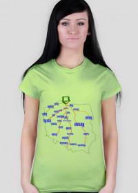 Lustrzana wersja mapy Polski - koszulka damska