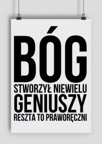 """Plakat z napisem """"Bóg stworzył niewielu geniuszy, reszta to praworęczni"""""""