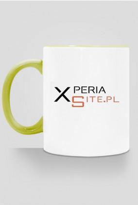 Kubek XperiaSite.pl  - mały napis, kolorowy uchwyt