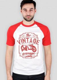 Koszulka męska, nadruk: motocykl z wózkiem bocznym, napis Vintage garage