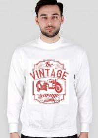 Bluza męska, nadruk: motocykl z wózkiem bocznym, napis Vintage garage