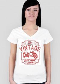 Koszulka damska, nadruk: motocykl z wózkiem bocznym, napis Vintage garage