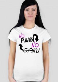 """Koszulka na siłownie Damska """"No Pain No Gain"""" 4 Kolory do wyboru, Nadruk Czarny."""