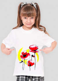 Koszulka Poppies White dziewczęca