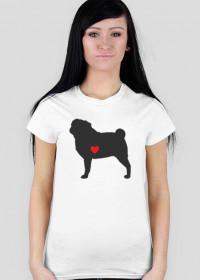 Damska koszulka - Mops - ciemny
