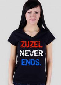 """Koszulka """"Zuzel never ends."""", damska, dekolt V-ka"""