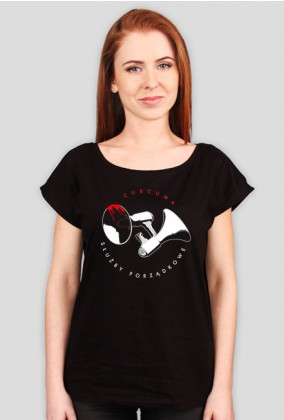 Koszulka damska Oversized - nadruk okrągły