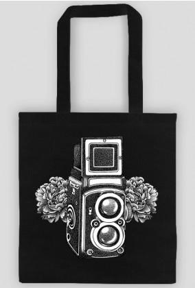 Vintage camera flowers bag