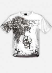 Ptak z czaszką na cmentarzu koszulka fullprint