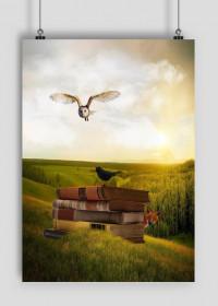 Zwierzęta i książki - plakat
