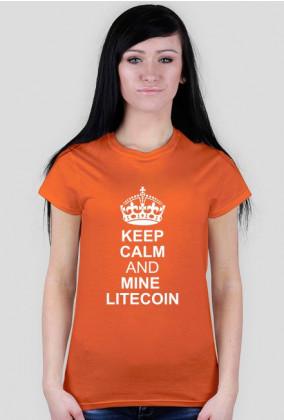 DAMSKA- keep calm and mine litecoin (pomarańczowa)