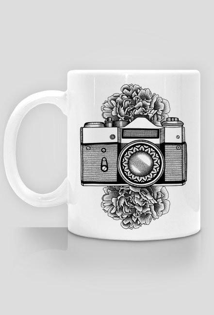 Vintage camera flowers mug