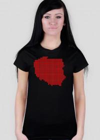 Mapa Polski piksele - koszulka damska Prawo Wilka