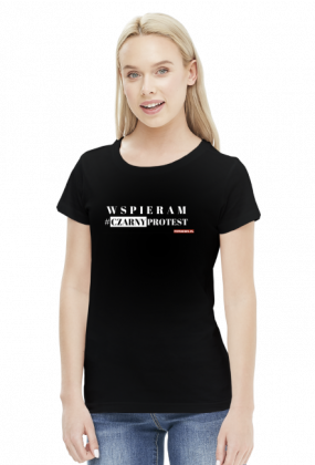 Czarny Protest Koszulka Damska