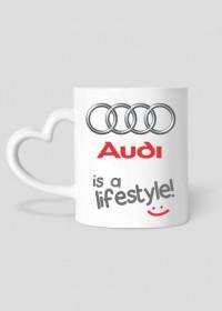 """Kubek serduszko """"Audi - is a lifestyle!"""""""