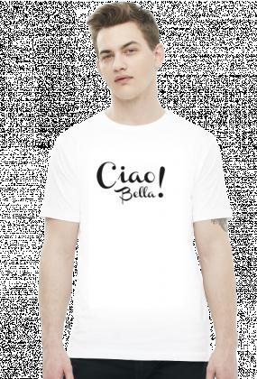 Ciao bella! biała koszulka męska