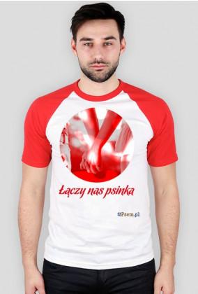 Łączy nas psinka - koszulka męska kolorowe rękawy
