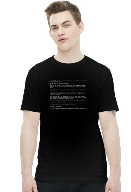 Koszulka czarna - Przemęczenie użytkownika komputera - Blue Screen of Death - - koszulki dla informatyków