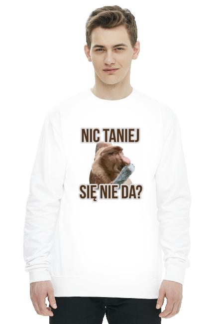 Nic taniej - biała męska bluza
