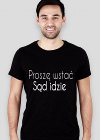 Koszulka męska czarna - Proszę wstać
