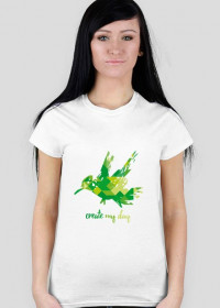 """Koszulka damska """"zielony ptaszek"""""""
