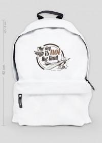 """AeroStyle - biały plecak z samolotem """"The sky is not the limit"""""""