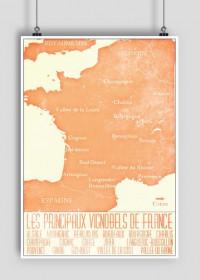Mapa Wina - Francja - plakat