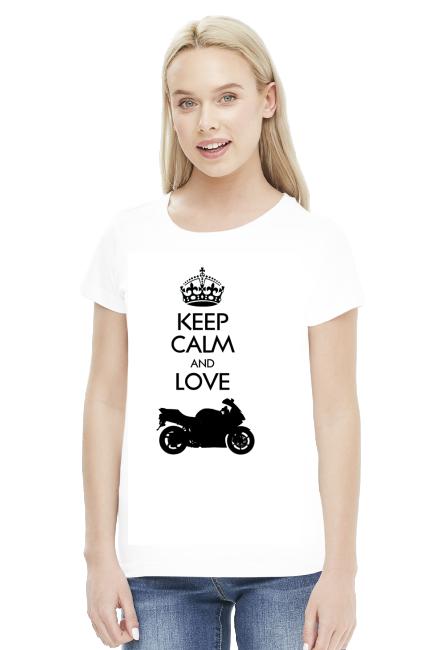 Keep Calm and love moto v2 biała WM - koszulka