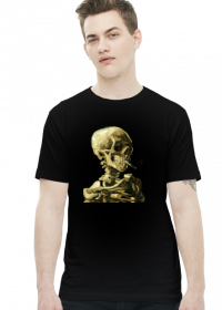 Czaszka z palącym się papierosem - koszulka męska