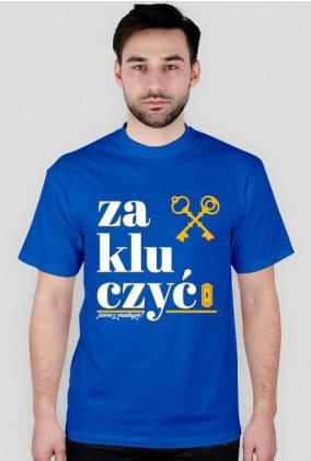 Zakluczyć - koszulka męska - Jasne z modrym