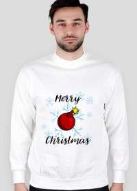 Swetr Merry Christmas Bombka biały