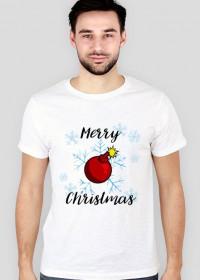 Koszulka 2 Merry Christmas Bombka biała