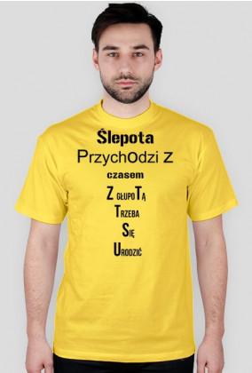 Men's short-sleeved T-shirt with text 1 Men's short-sleeved T-shirt with text 2