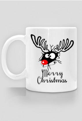 Śmieszny renifer - kubek świąteczny