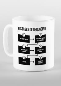 """6 Stages of debugging"" - Kubek dla programisty (Czarny nadruk)"