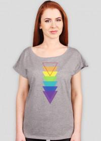 Luźny t-shirt damski w trójkąty