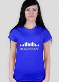 Niebieska damska koszulka z białym logo