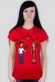 Pixel art – zakochana para (damski t-shirt)