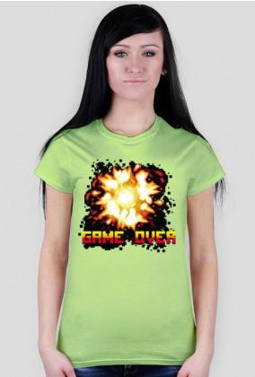 Pixel art –  game over i wybuch, t-shirt damski (różne kolory)