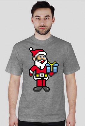 Pixel art – święty mikołaj – koszulka w stylu retro gier