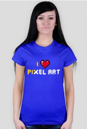 I Love pixel art – koszulka dla kobiet kochających piksele