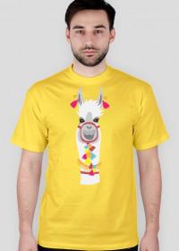 biała lama koszulka męska 1