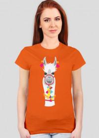 biała lama koszulka damska 1