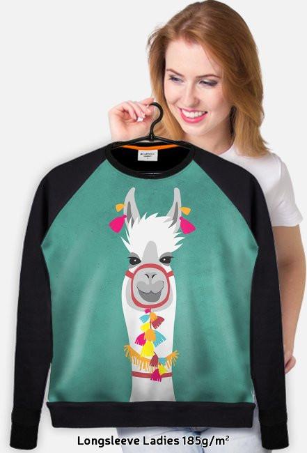 biała lama bluza fullprint damska