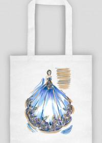 Torba Niebieska Suknia Z Kwiatami