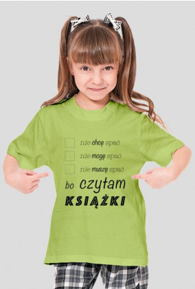 Koszulka dziewczęca Nie śpię bo czytam