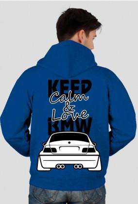 M3 E46 - Keep Calm and Love BMW (bluza męska rozpinana kapturowa) ciemna grafika