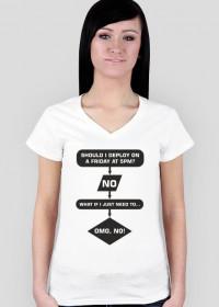 Koszulka damska prezent dla informatyka programisty na mikołajki pod choinkę, na urodziny  - Should I Deploy?