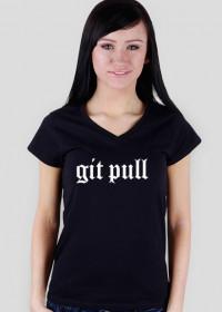 Koszulka damska prezent dla informatyka programisty na mikołajki pod choinkę, na urodziny  - Git Pull/GitHub